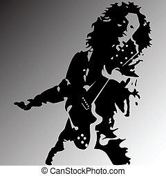 Rock guitar player silhouette - Vector illustration of rock...