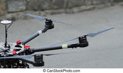 Quadcopter. Radio controlled hexacopter flying machine