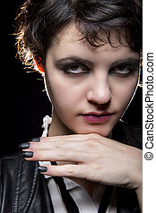 Black Manicure or Press On Nail Art - Goth style punk female...