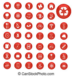 Image of various icons on colorful red buttons.