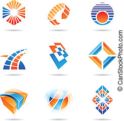 Various orange and blue abstract icons, Set 8