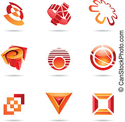 Various red abstract icons, Set 10
