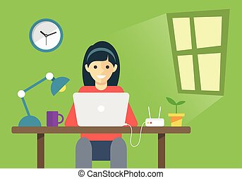 Girl working with laptop in room