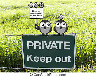 Use contraception - Comical family of birds with use...
