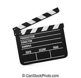 Movie Clapper Board isolated on white background. 3D render