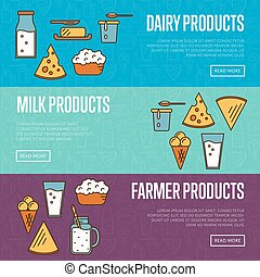 Dairy products horizontal website templates - Dairy...