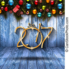 2017 Happy New Year seasonal background with real wood green...