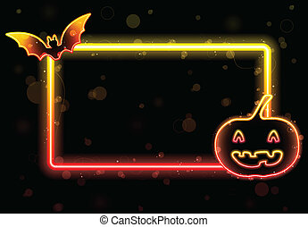Halloween Lights Frame with Bat and Pumpkin