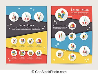 Stationery icons set with long shadow,eps10