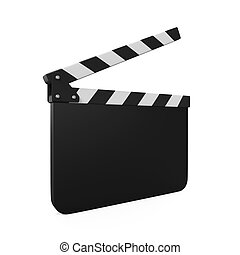 Empty Movie Clapper Board isolated on white background. 3D...