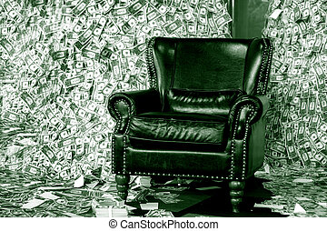 luxuary life style - luxuary leather sofa seat in money...