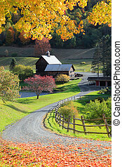 Barn in Woodstock Vermont - Scenic barn and farm landscape...