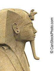 Stone Pharaoh Tutankhamen isolated on white background. 3D...