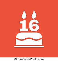 The birthday cake with candles in the form of number 16...
