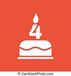 The birthday cake with candles in the form of number 4 icon....