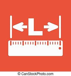 The length icon. Longitude, yardage, lgth symbol. Flat - The...