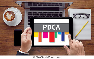 PDCA - Plan Do Check Act, on the tablet pc screen held by...