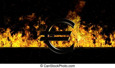 Euro Sign Burning Hot Word in Fire - Very useful footage for...