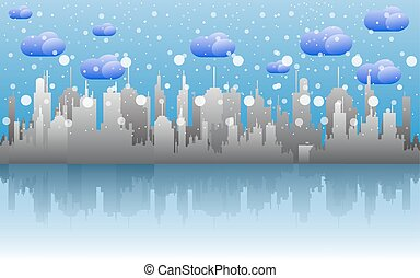 cityscape skyline with snow on cloudy day.