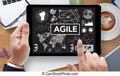 Agile Agility Nimble Quick Fast Concept, on the tablet pc...