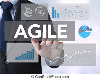 Agile Agility Nimble Quick Fast Concept Businessman touching...