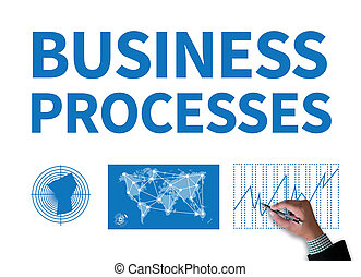 BUSINESS PROCESSES businessman work on white broad, top view