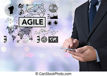 Agile Agility Nimble Quick Fast Concept businessman working...