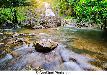 Deep forest waterfall at Sarika Waterfall World Heritage collection