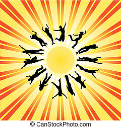 Post-card with a happy people Vector illustration