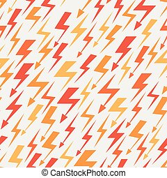 Orange, red and yellow lightnings seamless pattern. Abstract...
