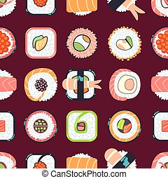 Japanese food sushi vector seamless pattern