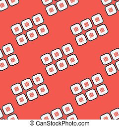 Sushi sets vector seamless pattern red
