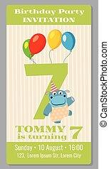 Kids birthday party invitation card vector illustration