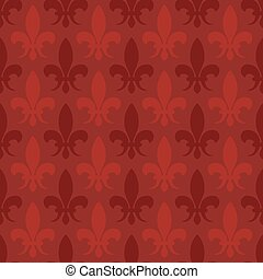 Red vector fleur de lis seamless pattern
