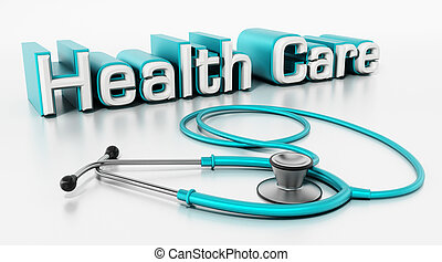 Healthcare text and stethoscope isolated on white background. 3D illustration