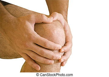 knee ache - man having pain in his knee making massage