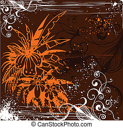 Grunge floral background . Vector