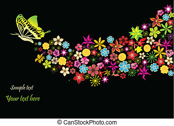Rainbow with flowers and butterfly. Vector