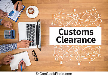 Customs Clearance Business team hands at work with financial...