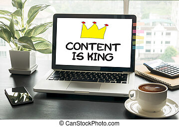 CONTENT IS KING Computing Computer Laptop with screen on...