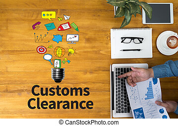 Customs Clearance Businessman working at office desk and...