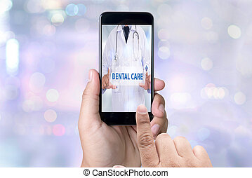 DENTAL CARE person holding a smartphone on blurred cityscape...