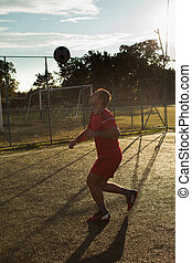 Soccer player in red