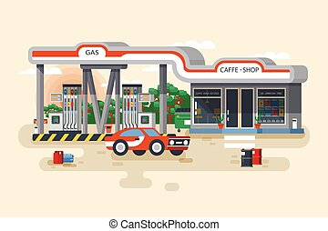 Vector illustration of gas and petrol filling station -...
