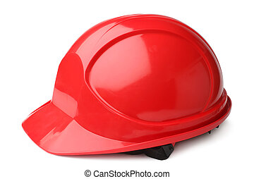 Red hard hat on white background
