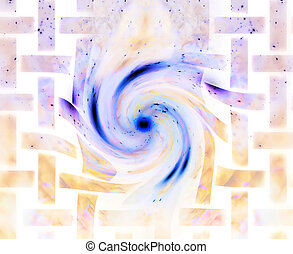 abstract cosmic background. streaming of galactic energy awakening to life and breaking throught the barriers. melting grilles on the edge.