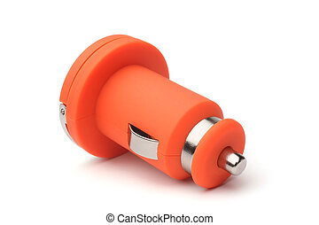 Car charger on white background