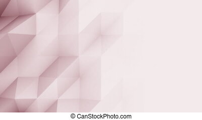 Low poly abstract light red 3D polygonal modern motion background. 4K seamless loop animation, ProRes
