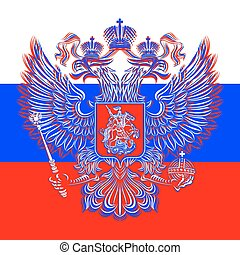 Russian double-headed eagle coat of arms on the background...