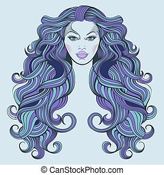 Malvina, a girl with blue hair - Vector line drawing